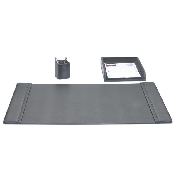3-Piece Classic Black Leather Desk Set