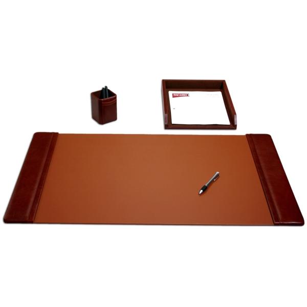 3-Piece Classic Mocha Leather Desk Set