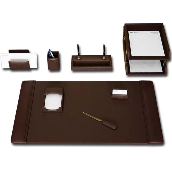 10-Piece Classic Black Leather Desk Set