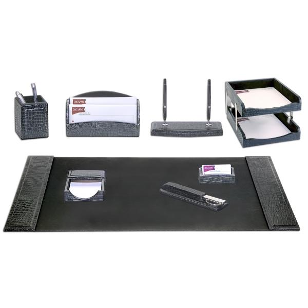 10-Piece Crocodile Embossed Leather Desk Set