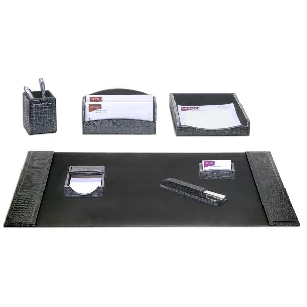 7-Piece Crocodile Embossed Leather Desk Set