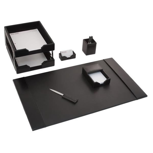 8 Piece Black Econo-Line Leather Desk Set