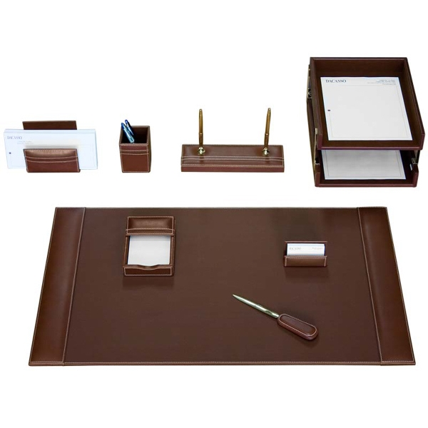 10-Piece Rustic Leather Desk Set