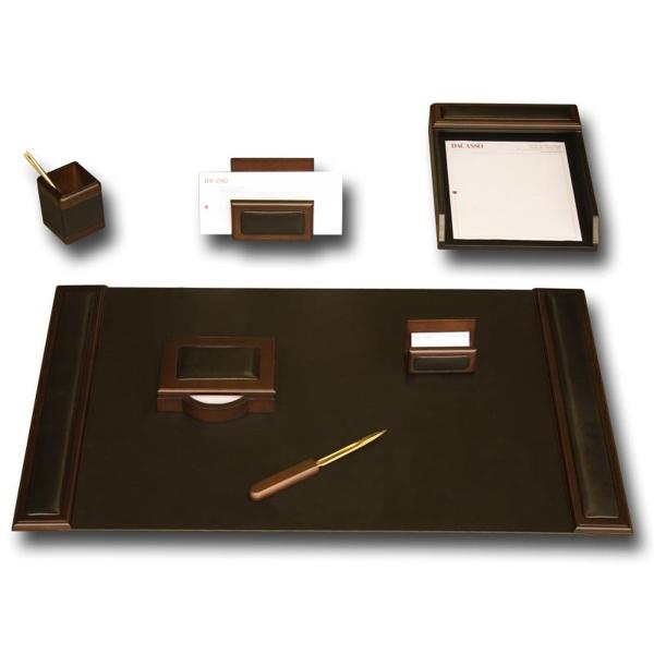 7-Piece Wood & Leather Desk Set
