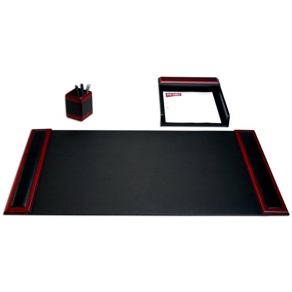 3-Piece Wood & Leather Desk Set