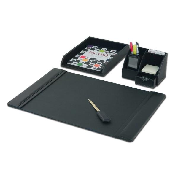 4-Piece Leather Desktop Organizer Desk Set
