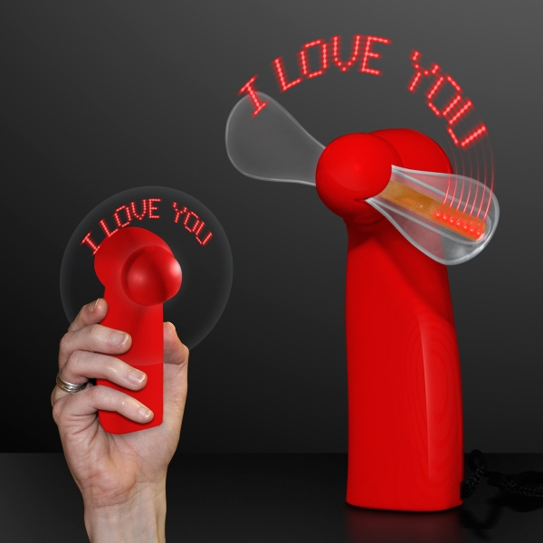 "LED ""I Love You"" Red Light Up Personal Fan"