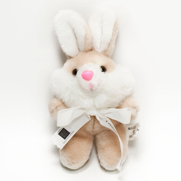 5'' Beige and White Bunny with ribbon and full color imprint