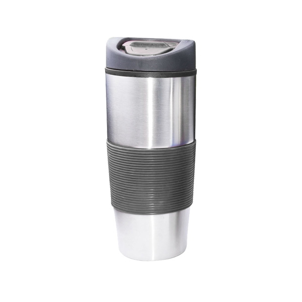16 oz. Stainless Steel Travel Mug W/ Rubber Grip