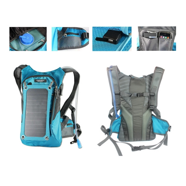 Solar Charger Panel Backpack with 2L Hydration Pack
