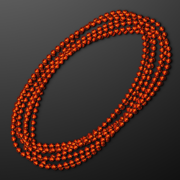 7mm Orange Mardi Gras Beads