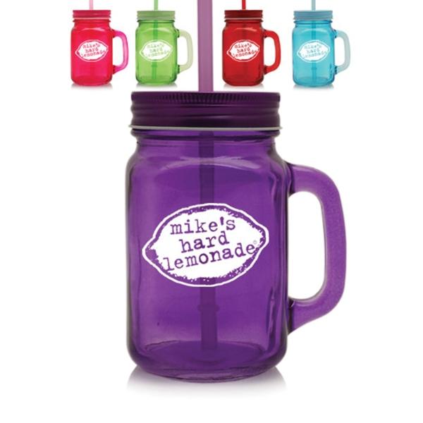 15 oz Colored Glass Mason Jar