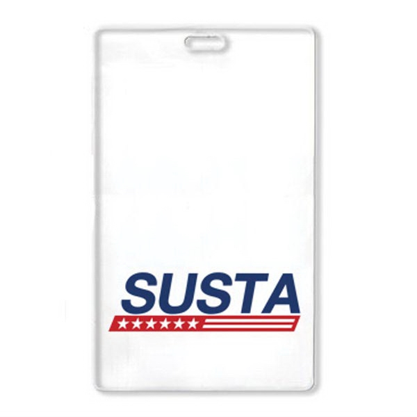 "Large Printed Badge Holder 4""W x 6""H - Clear Vinyl"