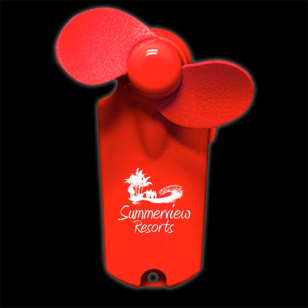 Red Handheld Mini Imprintable Fans