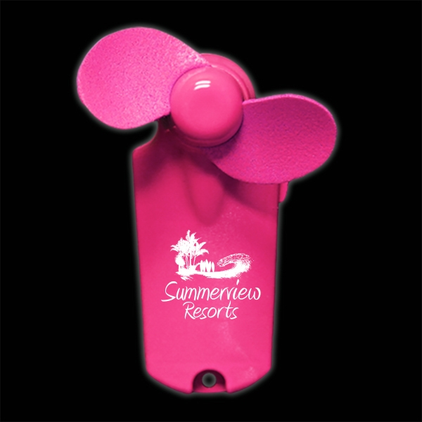 Pink Handheld Mini Imprintable Fans