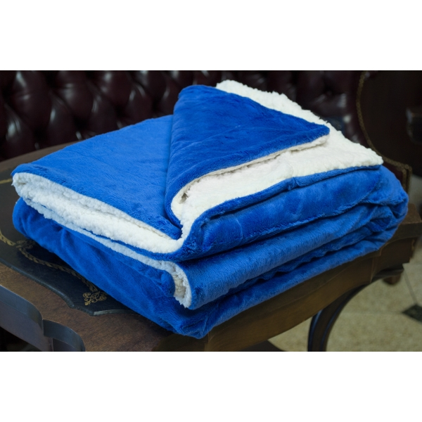 ROYAL BLUE MINK SHERPA BLANKET