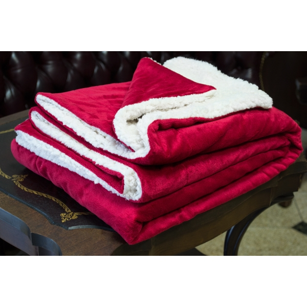 RED MINK SHERPA BLANKET WITH EMBROIDERY