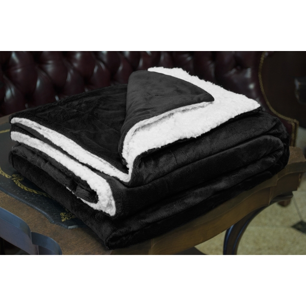 BLACK MINK SHERPA BLANKET WITH EMBROIDERY