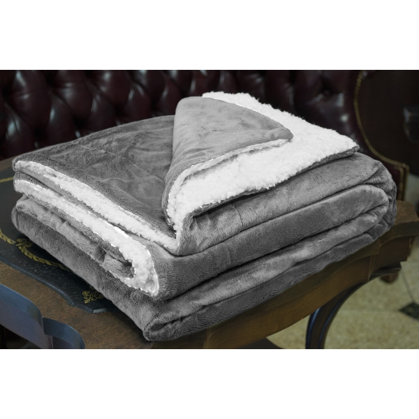 GRAY MINK SHERPA BLANKET WITH EMBROIDERY