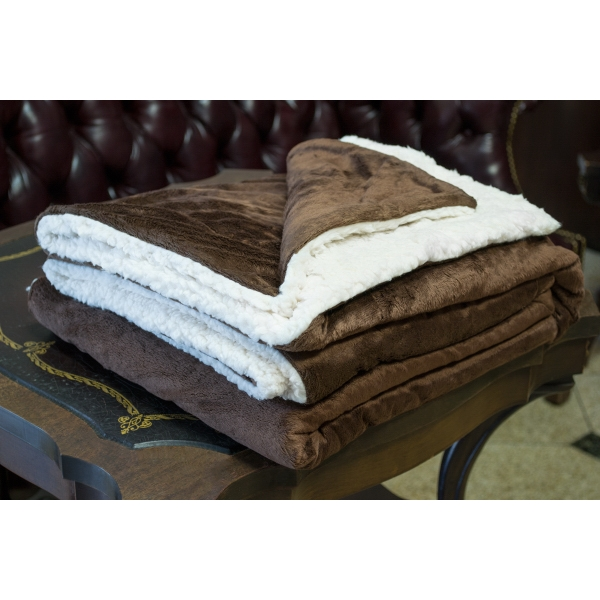BROWN MINK SHERPA BLANKET WITH EMBROIDERY