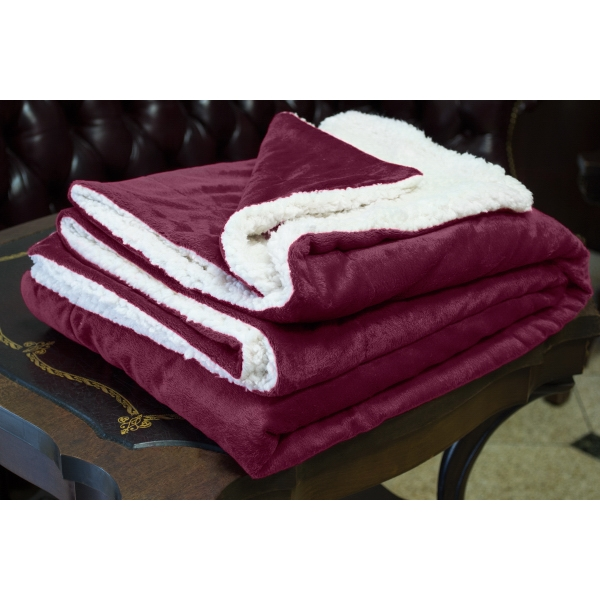 BURGUNDY MINK SHERPA BLANKET WITH EMBROIDERY
