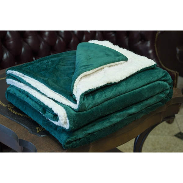 FOREST GREEN MINK SHERPA BLANKET WITH EMBROIDERY