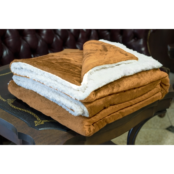 TAN MINK SHERPA BLANKET WITH EMBROIDERY