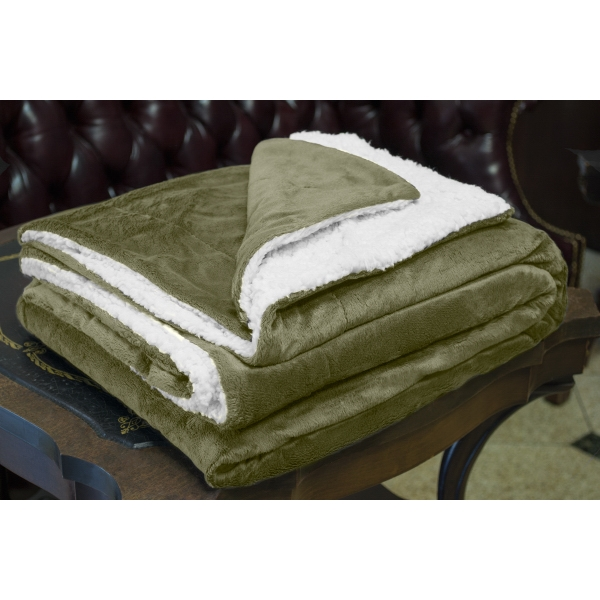 SAGE MINK SHERPA BLANKET WITH EMBROIDERY