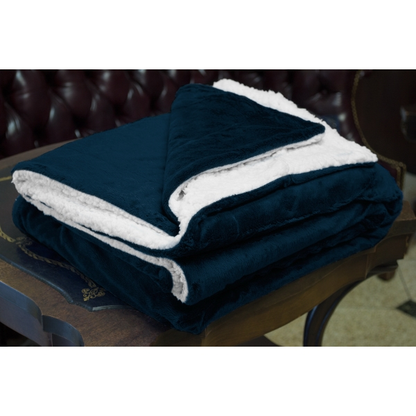 NAVY MINK SHERPA BLANKET WITH EMBROIDERY