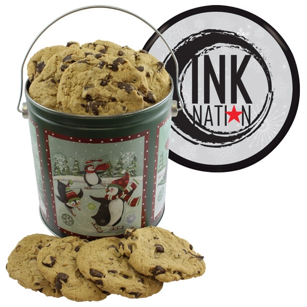 One Gallon Cookie Christmas Tin with Chocolate Chip Cookies