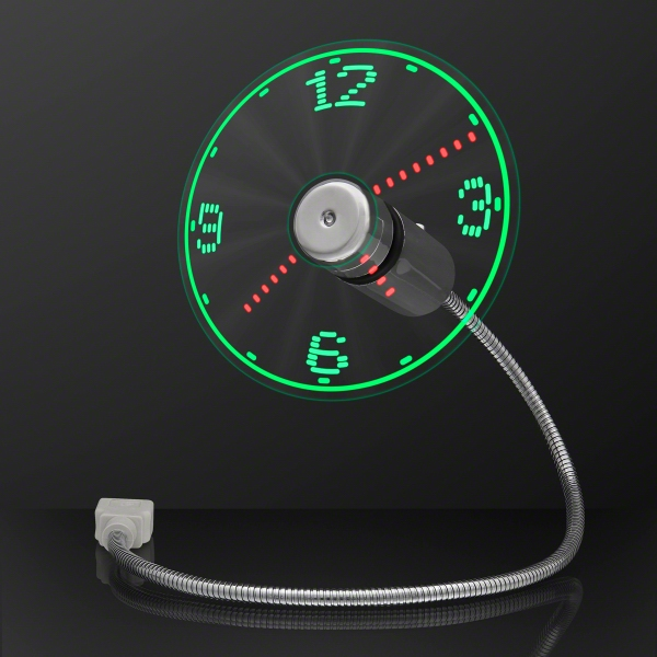 USB Powered LED Light Clock Desk Fan