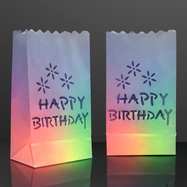"Luminary ""Happy Birthday"" Bags for LED Candles"