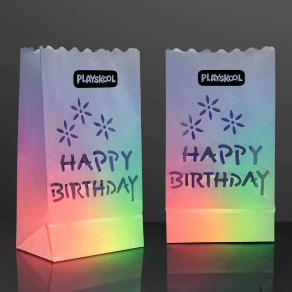 "Luminary ""Happy Birthday"" Bags for LED Candles - Printed"