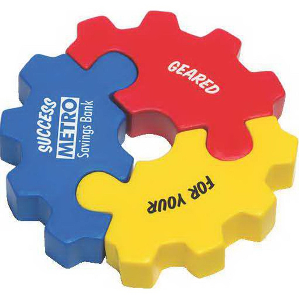 Gear Puzzle Set Stress Reliever - Gear puzzle set shaped stress reliever.