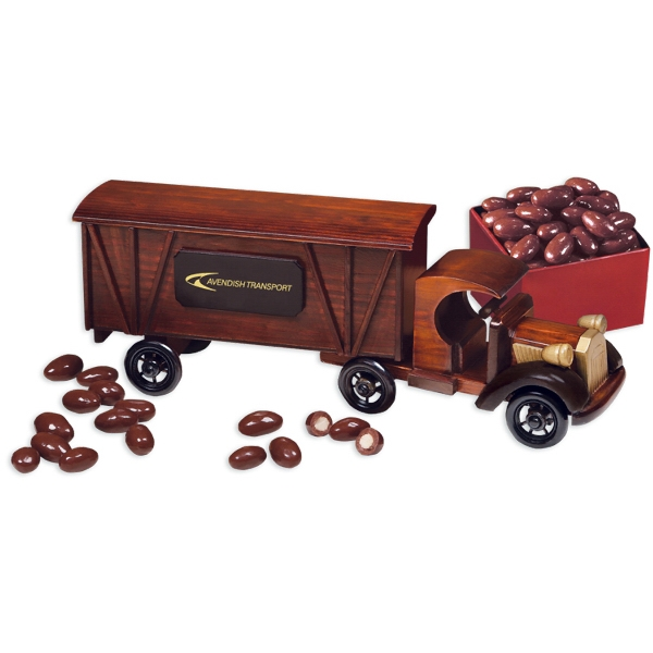 1920-Era Tractor-Trailer Truck with Chocolate Almonds - 1920 tractor-trailer truck with chocolate covered almonds