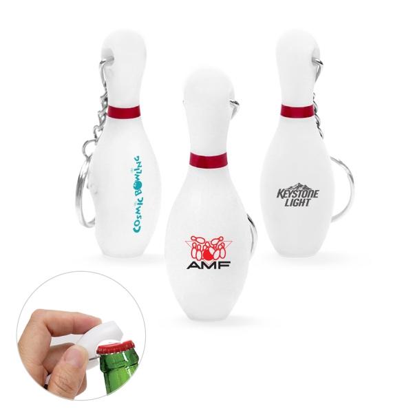 Plastic Bowling Pin Bottle Opener Keychain