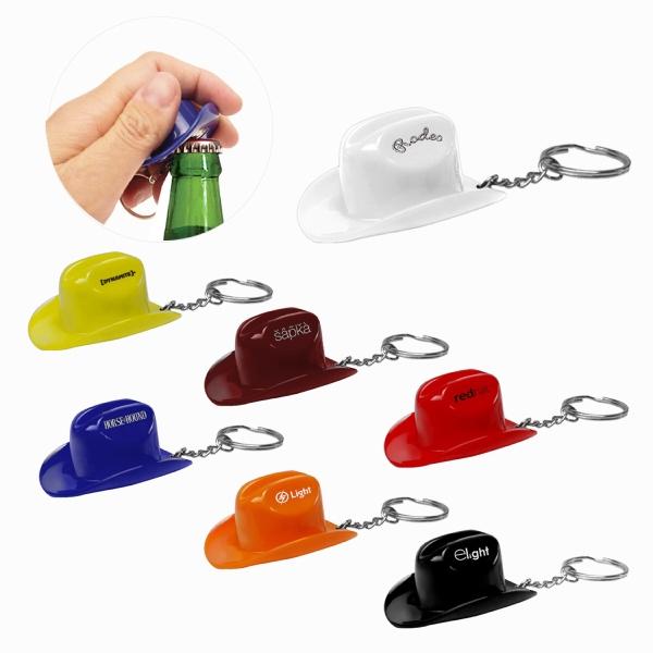 Plastic Cowboy Hat Bottle Opener Keychain