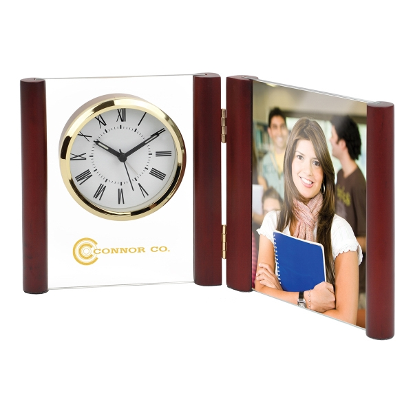 Glass Desk Alarm Book Clock Photo Frame