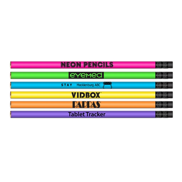 #2 HB Lead Pencil with Neon Colored Barrel & Black Eraser