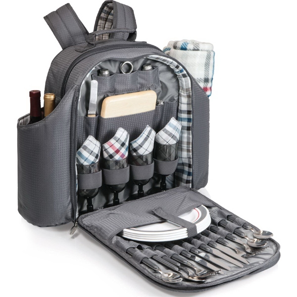 Big Ben - Insulated large backpack cooler with deluxe picnic service for four
