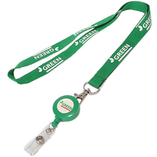 Polyester Lanyard with Retractable Reel Combo
