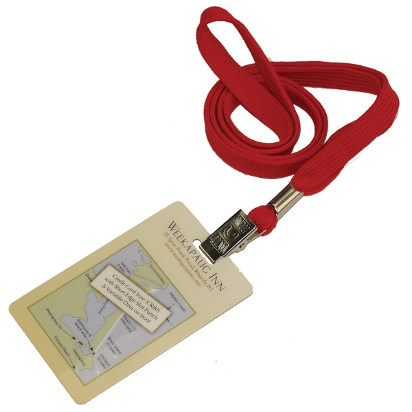 Flat Blank Lanyard w/ Both Side Full-Color PVC Card