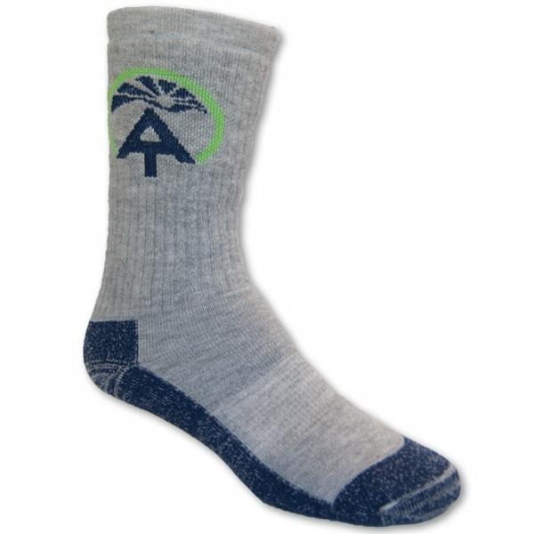 Wool Outdoor Crew Sock with Knit In Design