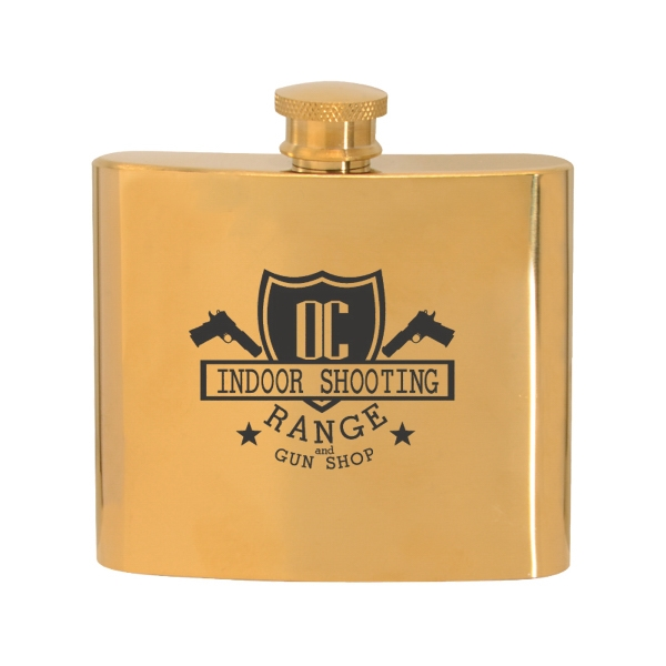 5 oz. Stainless Steel Gold Plated Hip Flask