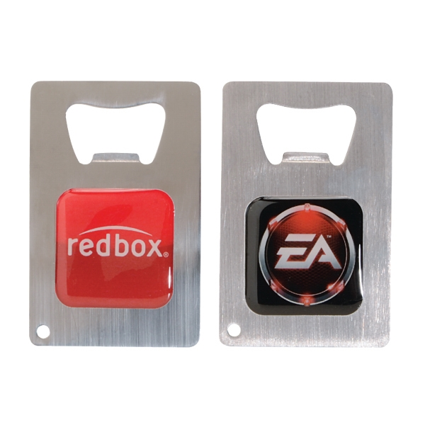 Credit Card Brushed Finish Bottle Opener w/4CP Epoxy Dome