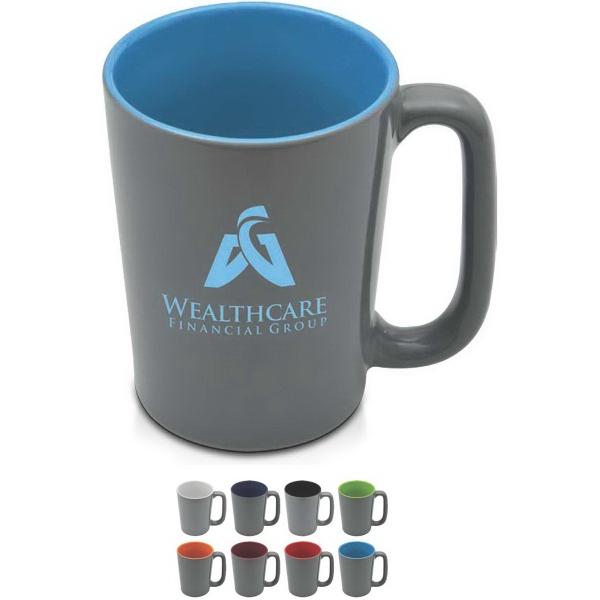 The Slat Series - Slat 16 oz mug with glossy gray exterior.