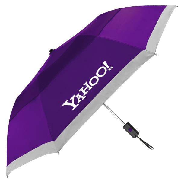 "The Lifesaver Folding Umbrella - Vented automatic folding umbrella with reflective strip , 42"" arc."