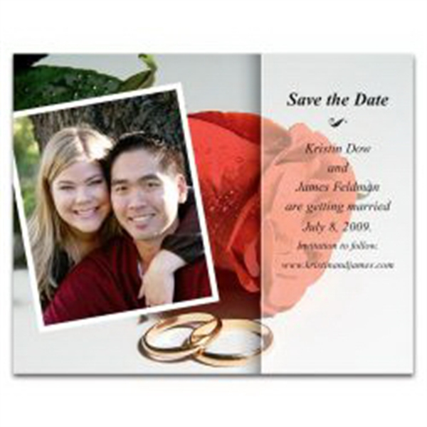 Rose with Photo Save the Date Magnet