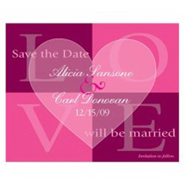 Pink Quadrant Save the Date Magnet