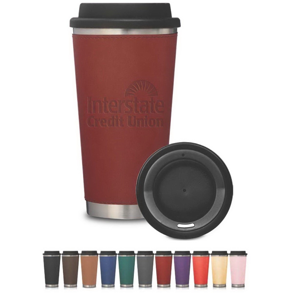 Metro Stainless Tumbler with Leatherette Sleeve